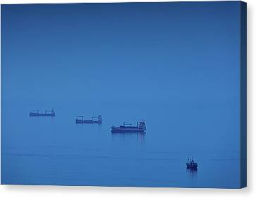 Malaga Canvas Print - Ships In The Sea, Malaga, Andalusia by Panoramic Images