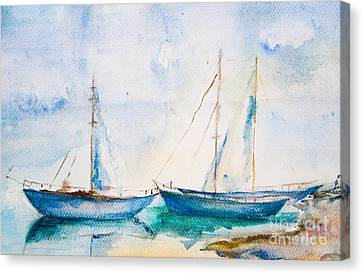 Ships In The Sea Canvas Print