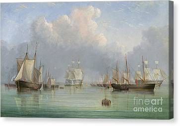 Ships Off Ryde Canvas Print by Arthur Wellington Fowles