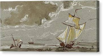 Ships On Storm Canvas Print by Juan  Bosco
