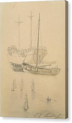 Yachts Canvas Print - Ships  by Caspar David Friedrich