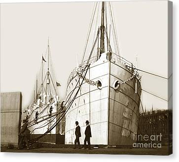 Canvas Print featuring the photograph Steam Ships San Francisco California   Circa 1900 Historical Photo by California Views Mr Pat Hathaway Archives