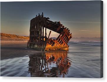Water Vessels Canvas Print - Shipwreck At Sunset by Mark Kiver