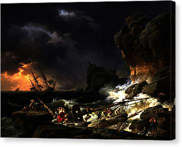 Canvas Print featuring the digital art Shipwreck In A Thunderstorm by Joseph Vernet
