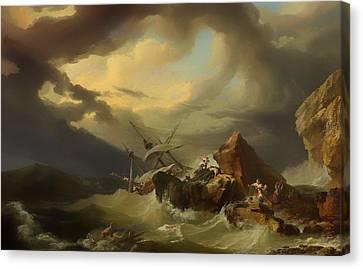 Shipwreck Off A Rocky Coast Canvas Print