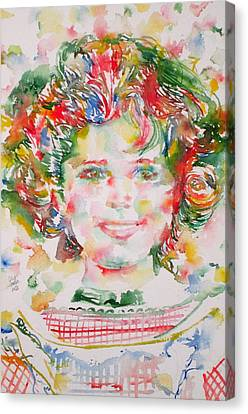 Shirley Temple - Watercolor Portrait.1 Canvas Print by Fabrizio Cassetta