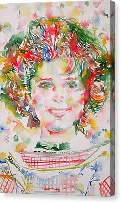 Shirley Temple Canvas Print - Shirley Temple - Watercolor Portrait.1 by Fabrizio Cassetta