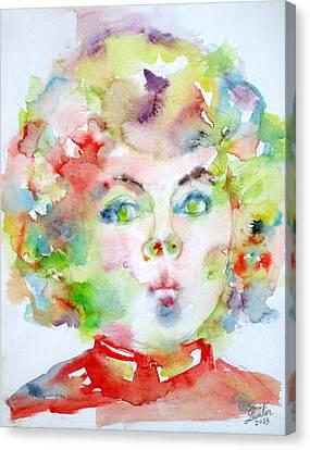 Shirley Temple Canvas Print - Shirley Temple - Watercolor Portrait.2 by Fabrizio Cassetta