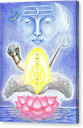 Canvas Print featuring the drawing Shiva by Keiko Katsuta
