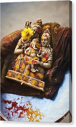 Ganapati Canvas Print - Shiva Parvati Ganesha by Tim Gainey