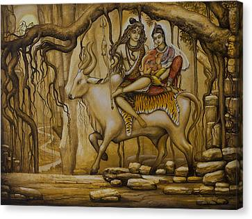 Tantra Canvas Print - Shiva Parvati Ganesha by Vrindavan Das