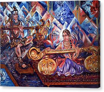 Shiva Parvati Canvas Print by Harsh Malik