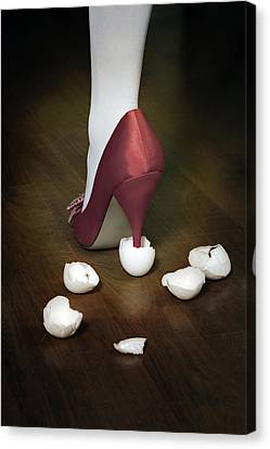 Shoe In Eggshells Canvas Print