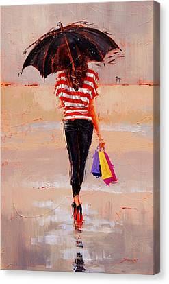 Shoe Shopping Canvas Print by Laura Lee Zanghetti