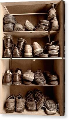 Tying Shoe Canvas Print - Shoebox by Sinisa Botas