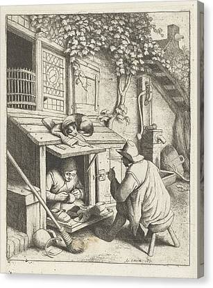 Shoemaker In Store For His House And A Customer Canvas Print by Adriaen Van Ostade