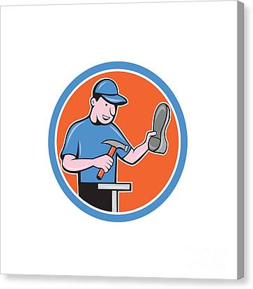 Workers Canvas Print - Shoemaker With Hammer Shoe Cartoon by Aloysius Patrimonio