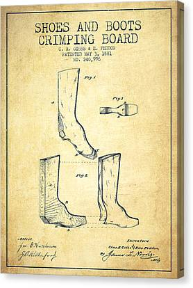 Shoes And Boots Crimping Board Patent From 1881 - Vintage Canvas Print
