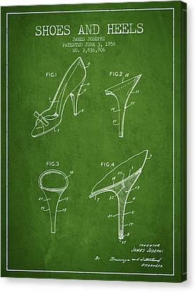 Shoes And Heels Patent From 1958 - Green Canvas Print