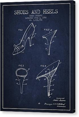 Shoes And Heels Patent From 1958 - Navy Blue Canvas Print
