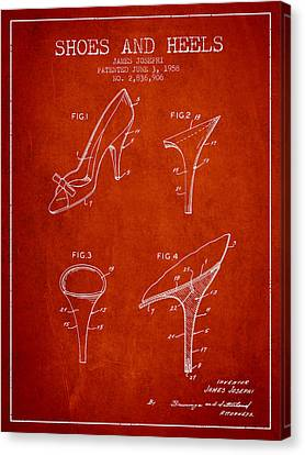 Shoes And Heels Patent From 1958 - Red Canvas Print