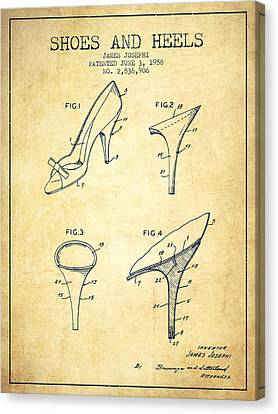 Shoes And Heels Patent From 1958 - Vintage Canvas Print