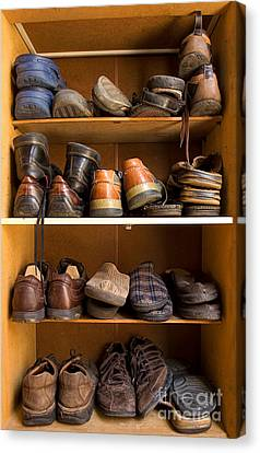 Tying Shoe Canvas Print - Shoes Box by Sinisa Botas