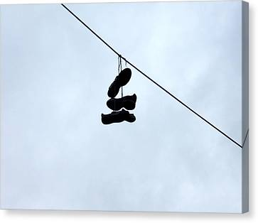Canvas Print featuring the photograph Shoes On The Line by Marc Philippe Joly