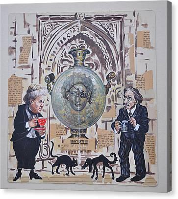 Sholem Aleichem And Selma Lagerlof In Jerusalem Canvas Print by Nekoda  Singer