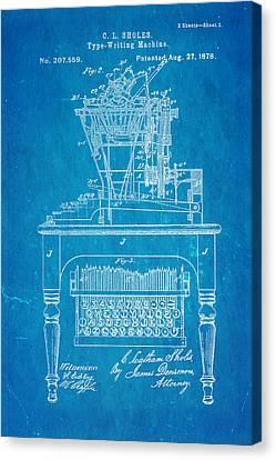 Sholes Qwerty Keyboard Patent Art 1878 Blueprint Canvas Print by Ian Monk