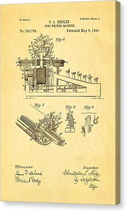 Sholes Type Writing Machine Patent Art 3 1896 Canvas Print by Ian Monk