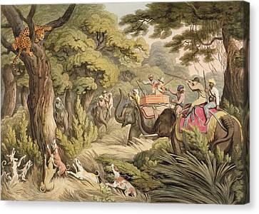 Greyhound Canvas Print - Shooting A Leopard, From Oriental Field by Samuel Howett