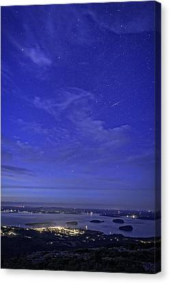 Maine Mountains Canvas Print - Shooting Star Over Bar Harbor by Rick Berk