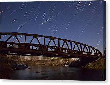 Shooting Star Over Bridge Canvas Print