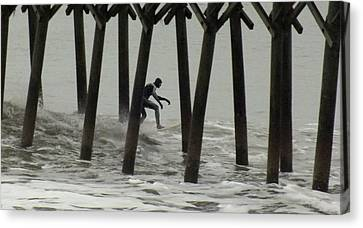 Shooting The Pier Canvas Print by Karen Wiles