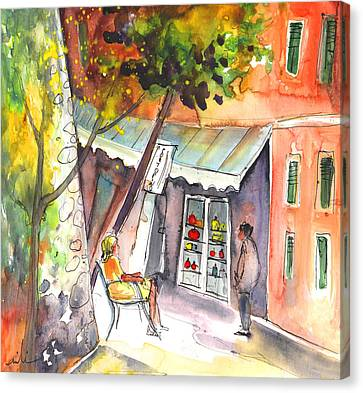 Shop Owner In Portofino In Italy Canvas Print by Miki De Goodaboom