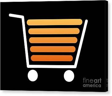 Shopping Cart White Canvas Print by Henrik Lehnerer