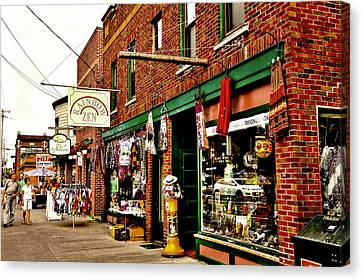 Shopping Downtown Old Forge - New York Canvas Print by David Patterson