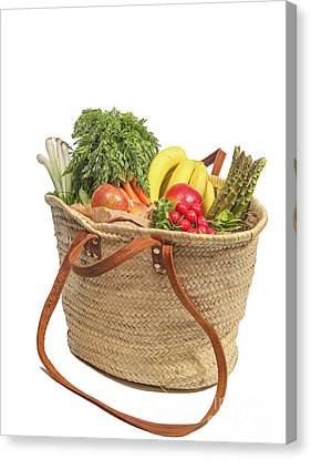 Shopping For Orrganic Fruit And Vegetables  Canvas Print by Patricia Hofmeester