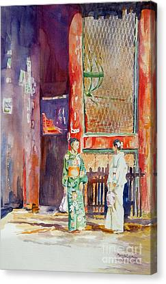 Canvas Print featuring the painting Shopping  by Mary Haley-Rocks