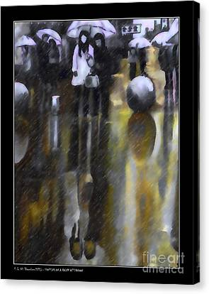 Shopping On A Rainy Afternoon Canvas Print by Pedro L Gili