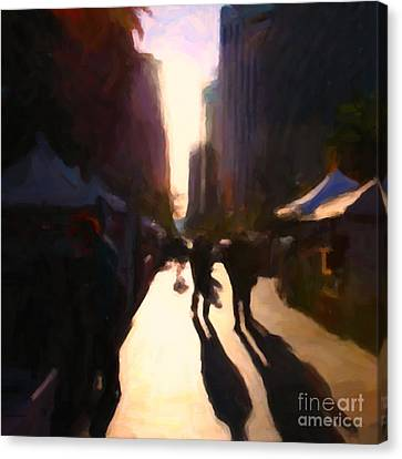 Shopping Stands Along Market Street At San Francisco's Embarcadero - 5d20841 - Square Canvas Print by Wingsdomain Art and Photography