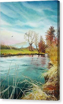 Canvas Print featuring the painting Shore Of The River by Sorin Apostolescu