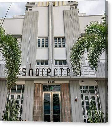 Shorecrest Hotel On South Beach Miami  - Square Crop Canvas Print by Ian Monk