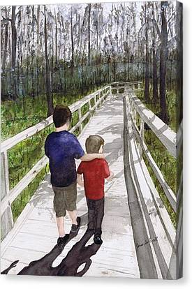 Canvas Print featuring the painting Short Walk Long Pier by June Holwell