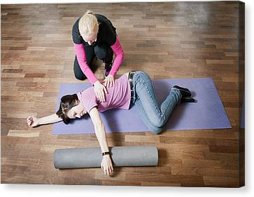 Shoulder And Back Physiotherapy Canvas Print by Thomas Fredberg