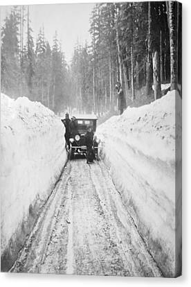 Shoveling Out From A Blizzard Canvas Print by Mountain Dreams