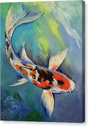 Coy Canvas Print - Showa Butterfly Koi by Michael Creese