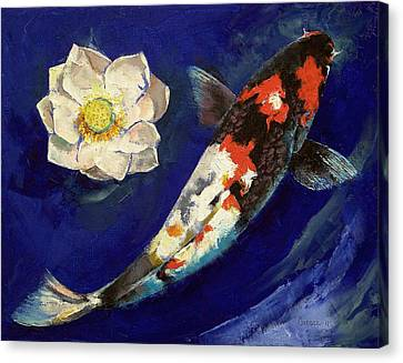Showa Koi And Lotus Flower Canvas Print