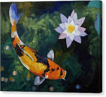 Coy Canvas Print - Showa Koi And Water Lily by Michael Creese
